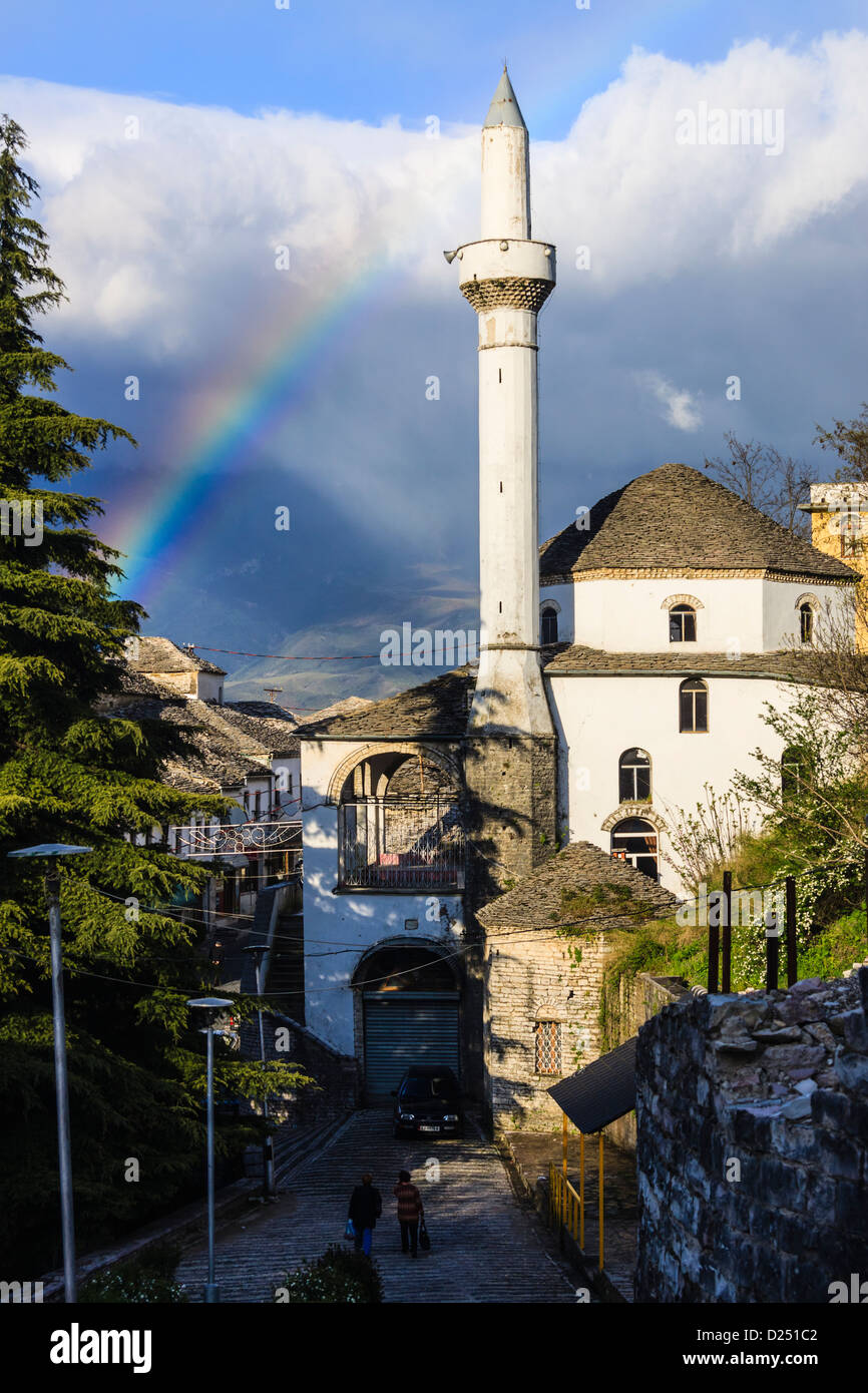 Rainbow over Bazaar Mosque at Girokaster, Southern Albania - Stock Image