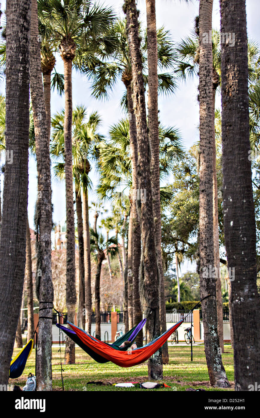 students lounge in hammocks at Flagler College in St. Augustine, Florida. - Stock Image