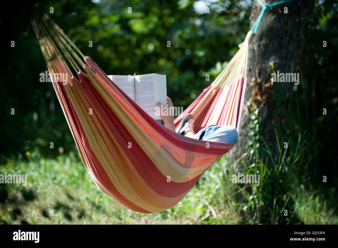Vacqueyras, France, a woman is reading and relaxing in a hammock - Stock Image