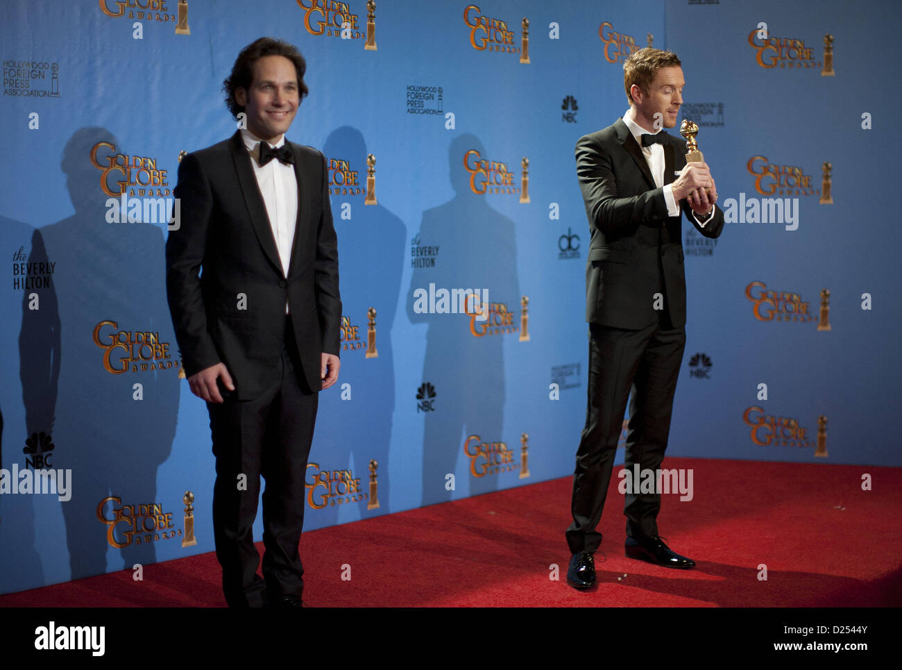 Beverly Hills, California, USA. 13th January 2013.  Pictured: Actor Paul Rudd; Actor Damian Lewis, winner of Best - Stock Image