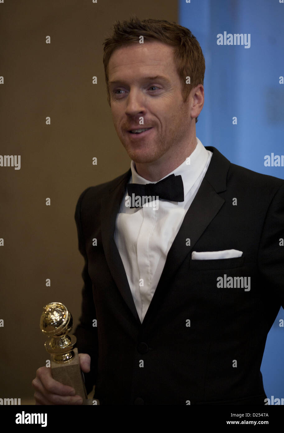 Beverly Hills, California, USA. 13th January 2013.  Actor Damian Lewis, winner of Best Actor in a Television Series, - Stock Image