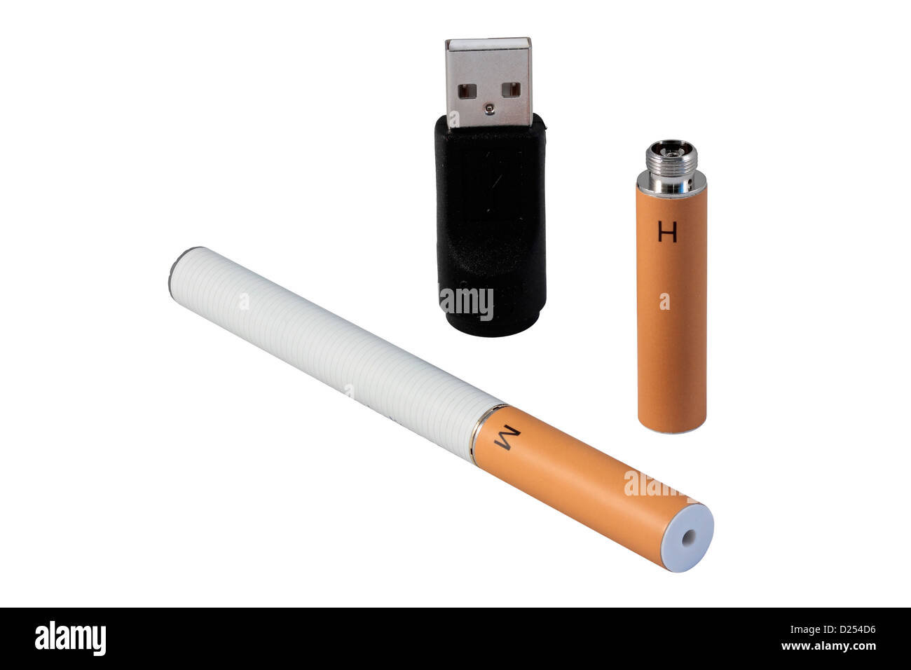 e cigarette, battery, nicotine cartridge and USB charger isolated on white background - Stock Image