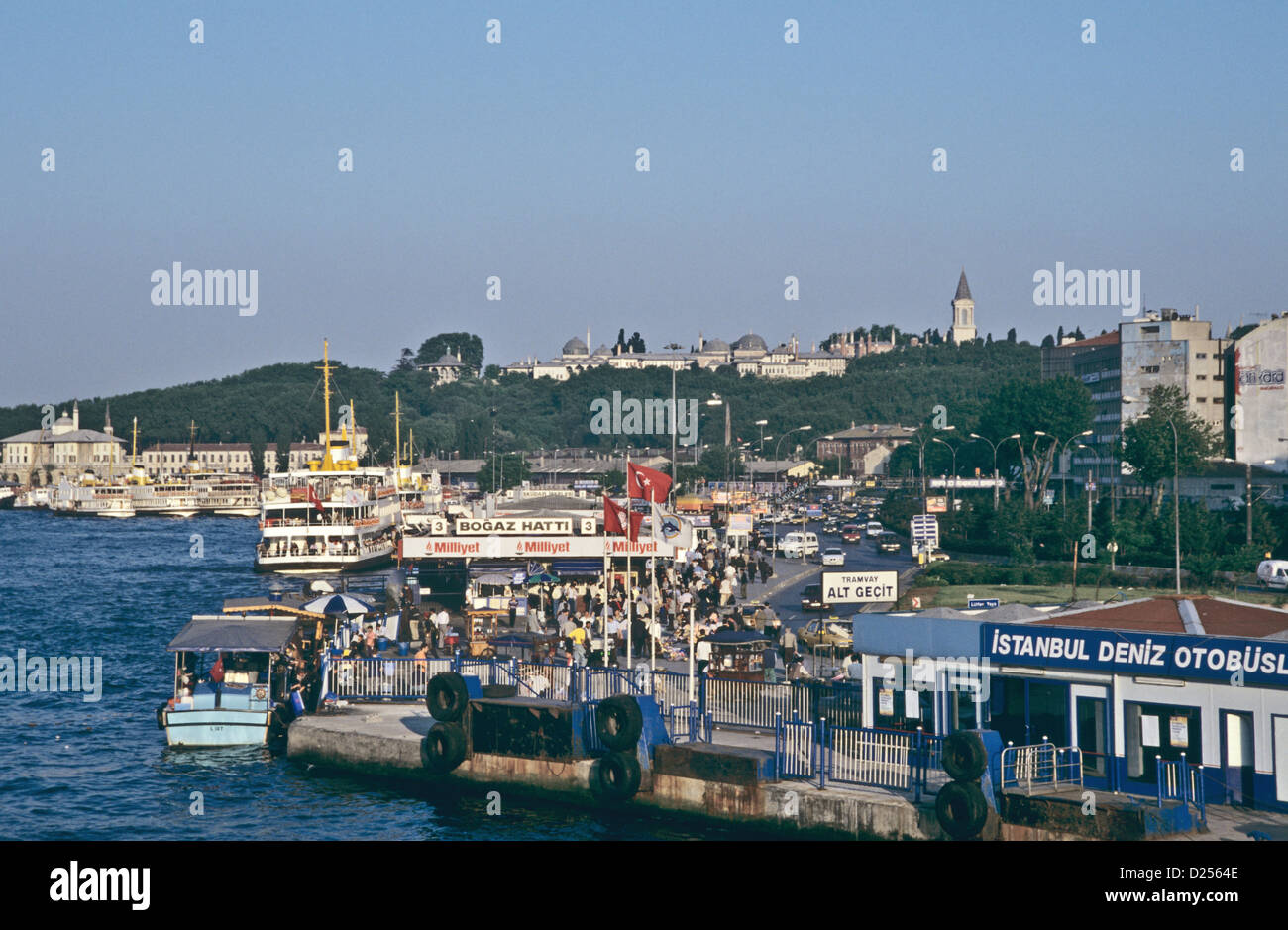 Waterfront of the Golden Horn from the Galata Bridge, Topkapi in the background, Istanbul, Turkey 000531_2429 - Stock Image