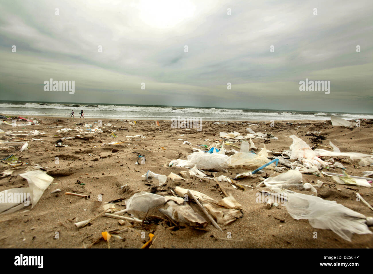 Bali's Pollution Issues,  Beach covered in garbage Stock Photo