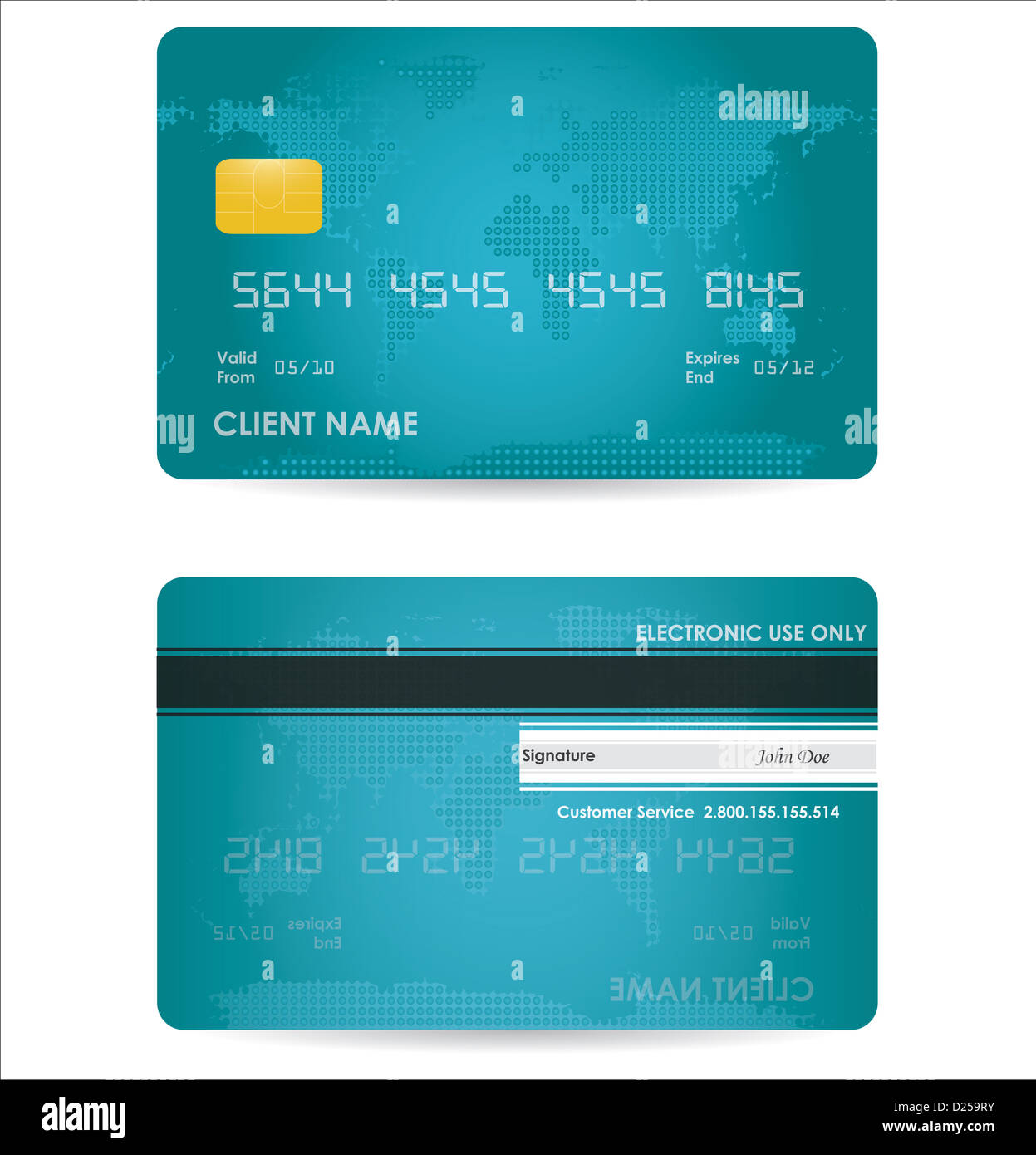 Front Back Blue Debit Card Stock Photos Front Back Blue Debit Card