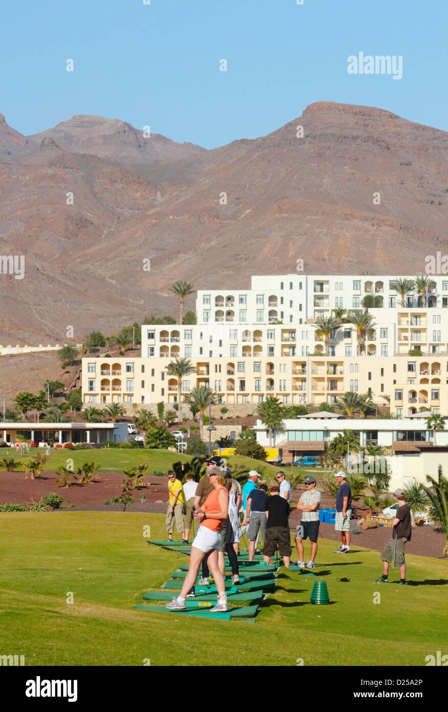 Golf driving range at Las Playitas on Fuerteventura, Cnary Islands, Spain - Stock Image