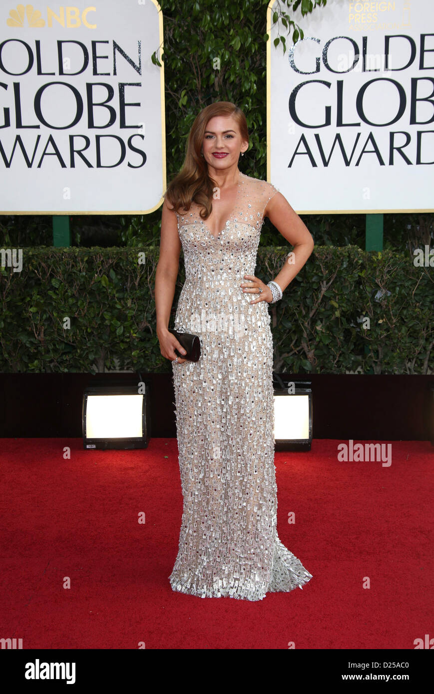 Actress Isla Fisher arrives at the 70th Annual Golden Globe Awards presented by the Hollywood Foreign Press Association, - Stock Image