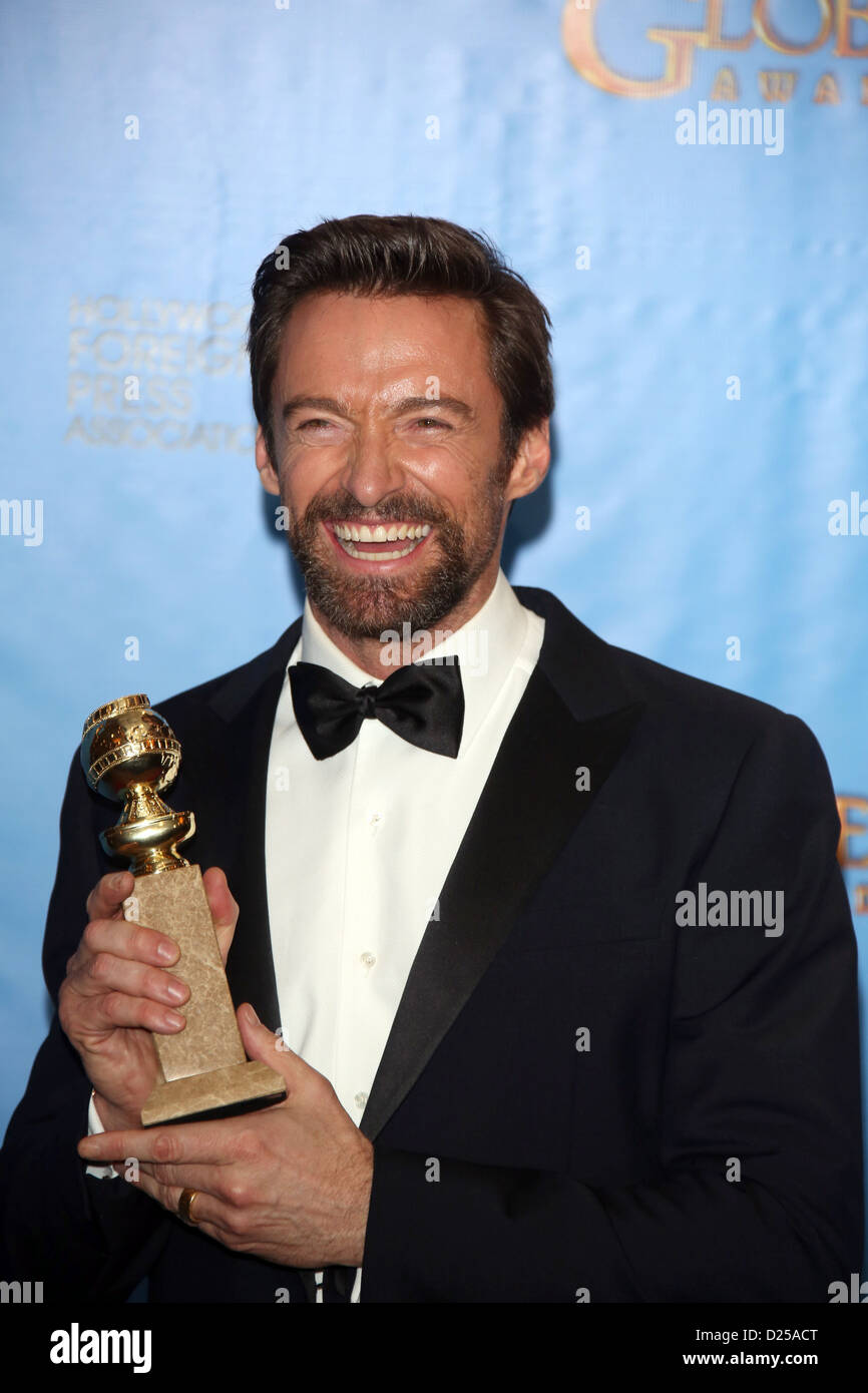 Best actor in a comedy or musical winner Hugh Jackman poses in the photo press room of the 70th Annual Golden Globe - Stock Image