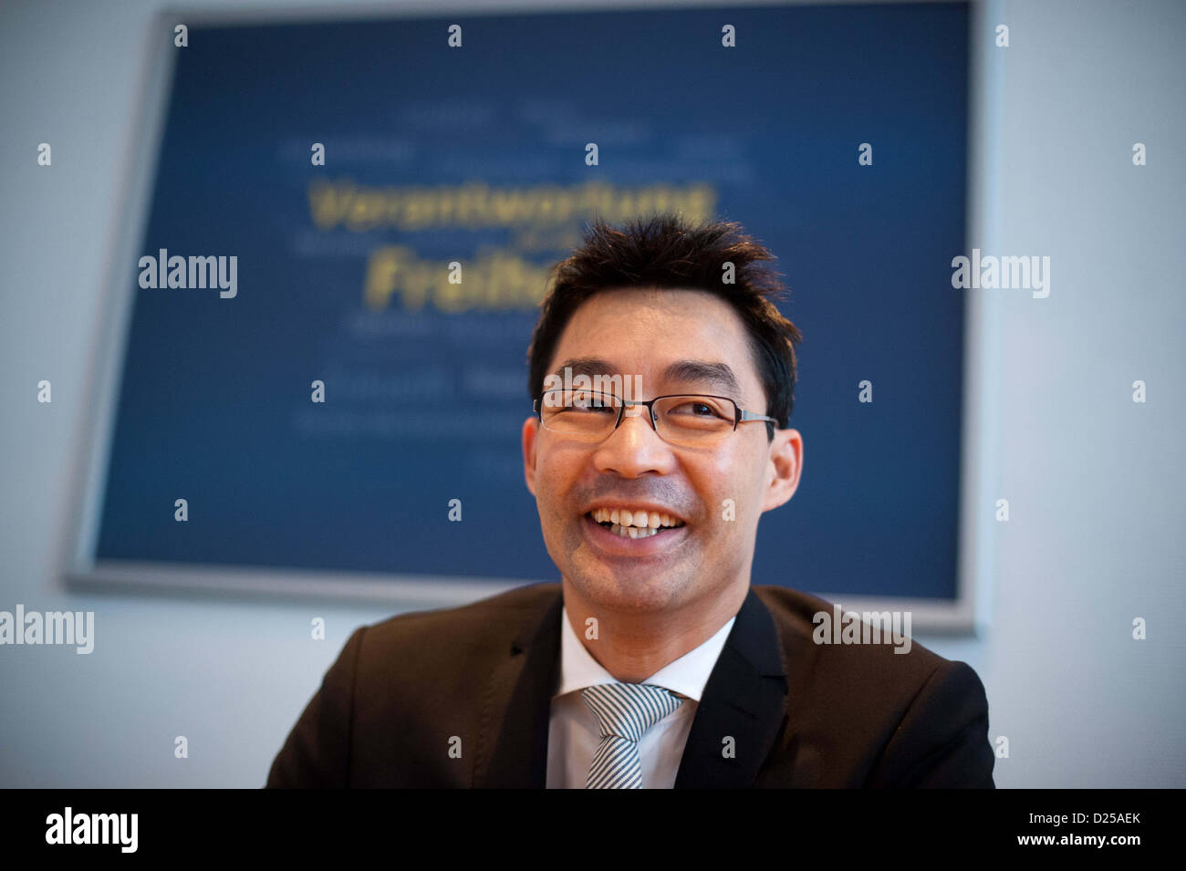 German Federal Minister of Economics and party leader of the FDP Philipp Rösler joins the FDP-Presidium meeting - Stock Image