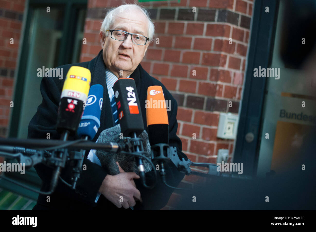 German leader of the FDP faction, Rainer Brüderle (FDP) joins the FDP-Presidium meeting in Berlin, 14 January - Stock Image