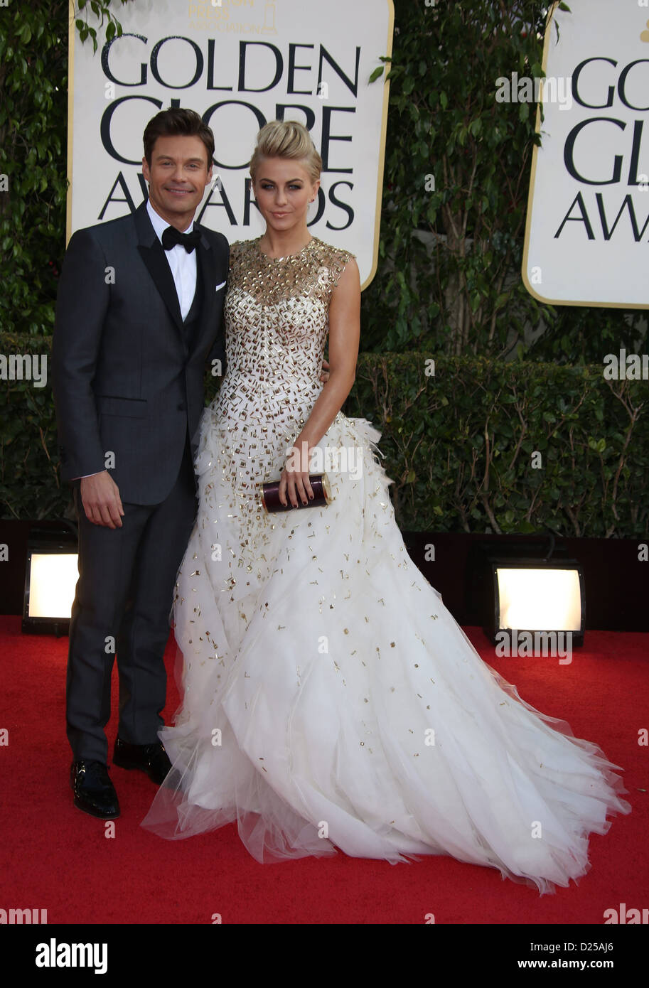 TV personality Ryan Seacrest (l) and actress Julianne Hough arrive at the 70th Annual Golden Globe Awards presented - Stock Image