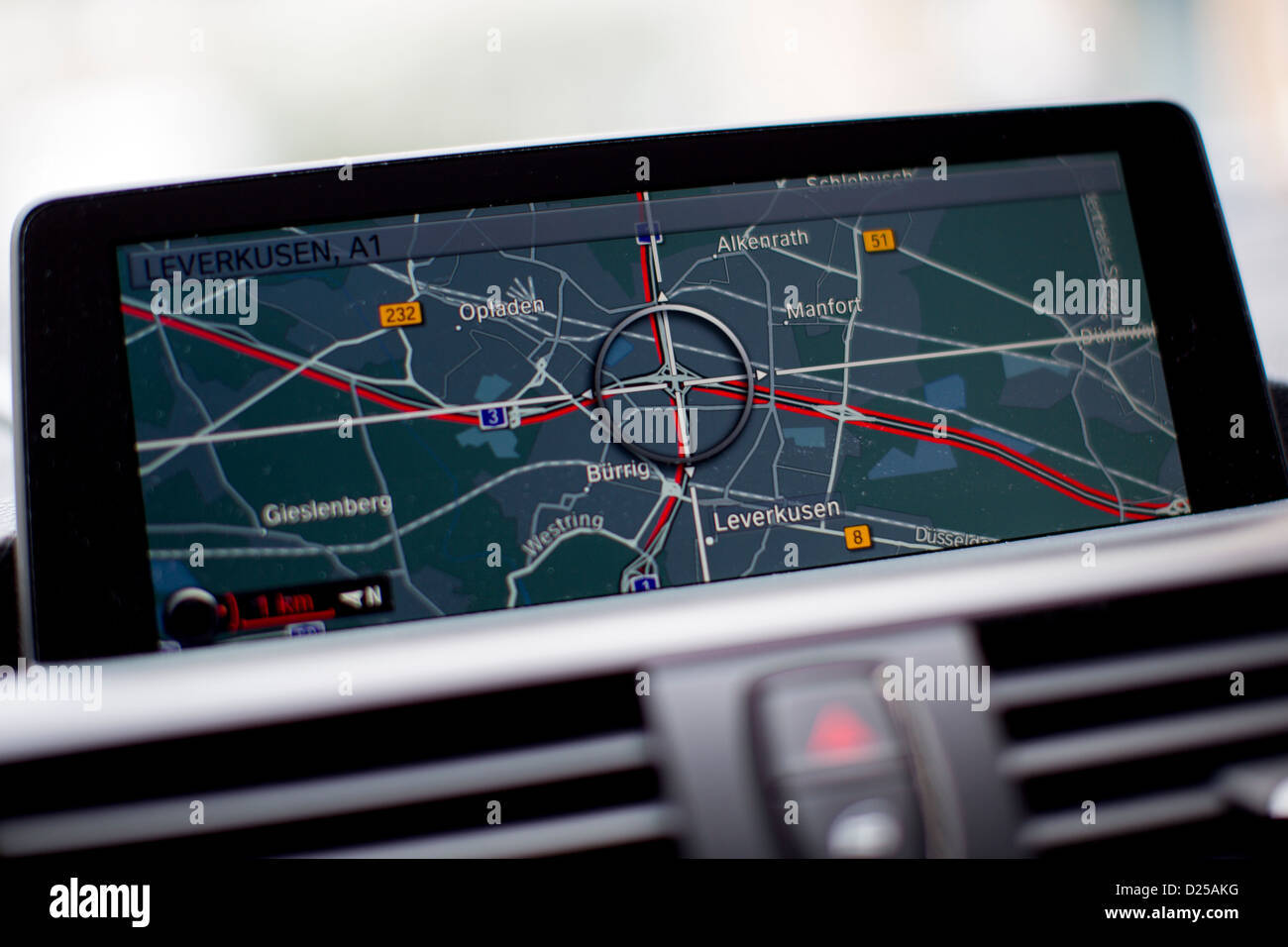 A red line on the map of a navigation system indicates congested Autobahns A1 and A3 at the intersection in Leverkusen, - Stock Image