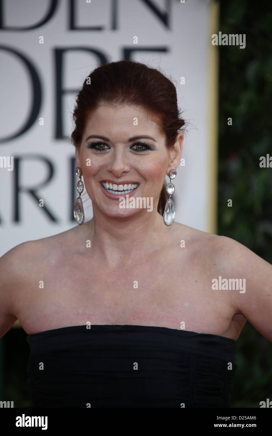 Actress Debra Messing arrives at the 70th Annual Golden Globe Awards presented by the Hollywood Foreign Press Association, - Stock Image