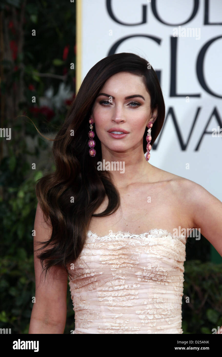 Actress Megan Fox arrives at the 70th Annual Golden Globe Awards presented by the Hollywood Foreign Press Association, - Stock Image