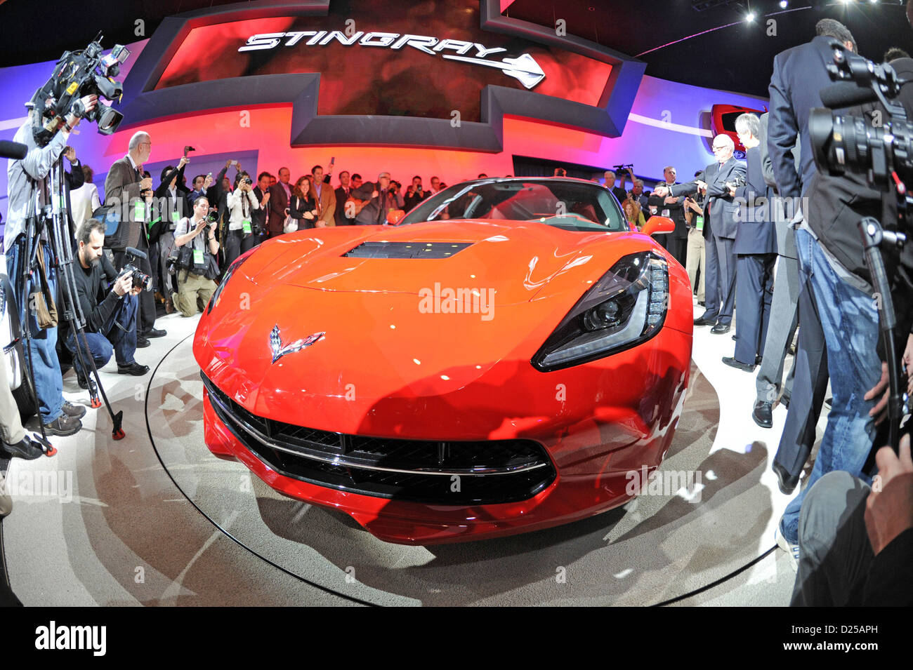 The new Chevrolet Corvette Stingray is unveiled on the first press day of the North American International Auto - Stock Image