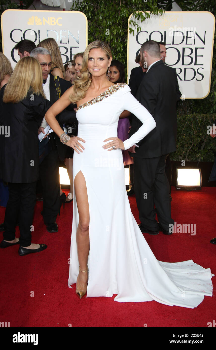 Model / tv personality Heidi Klum arrives at the 70th Annual Golden Globe Awards presented by the Hollywood Foreign - Stock Image