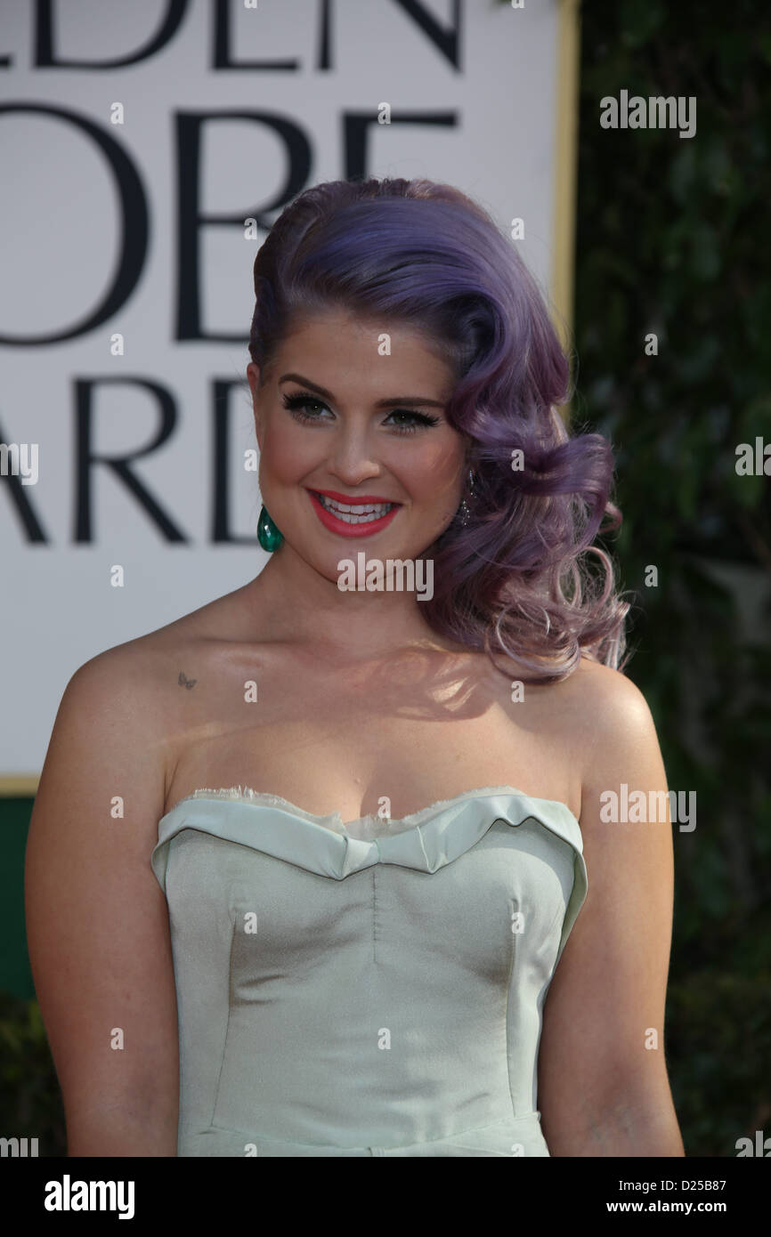 TV personality Kelly Osbourne arrives at the 70th Annual Golden Globe Awards presented by the Hollywood Foreign - Stock Image