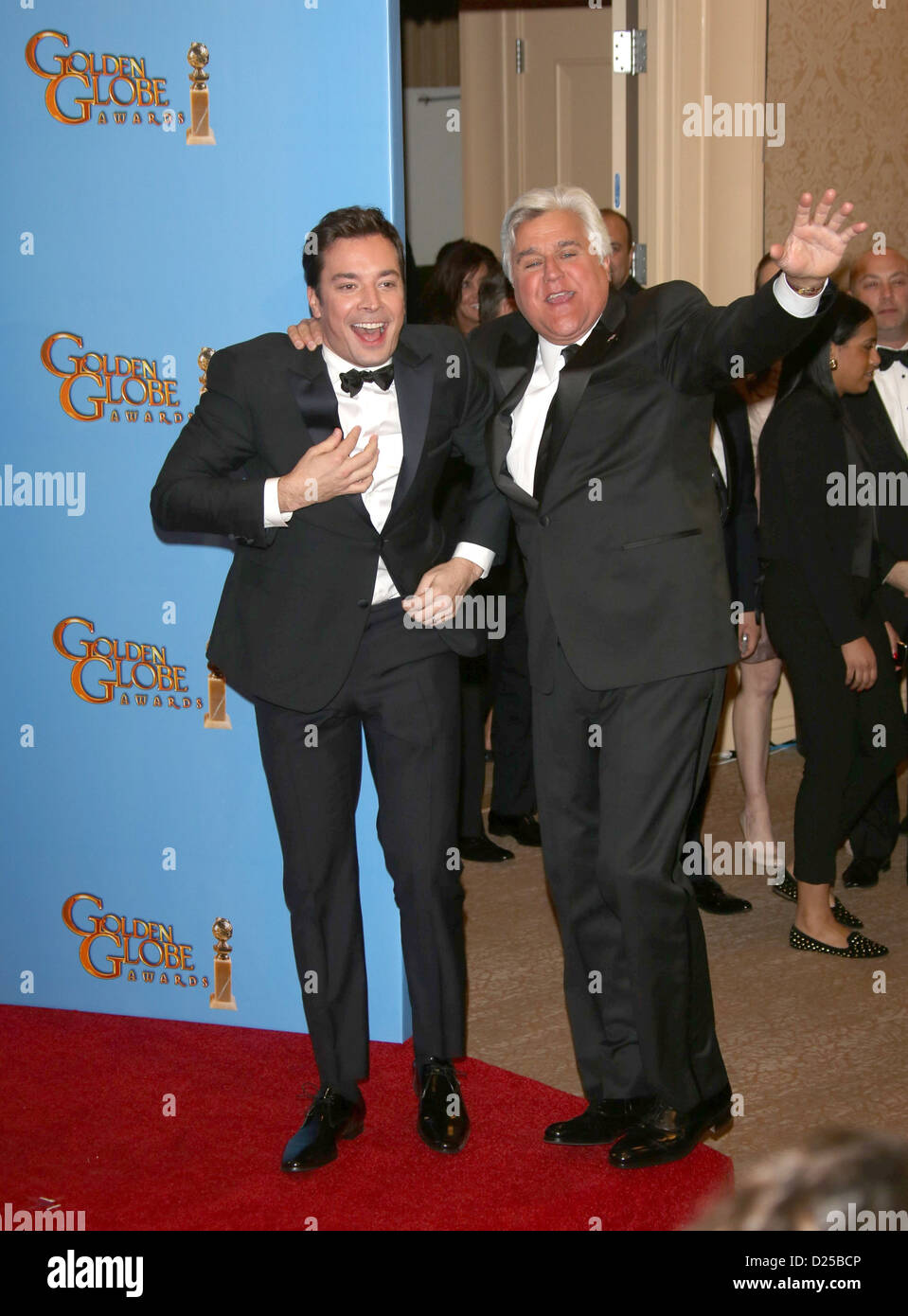 TV personalities Jay Leno and Jimmy Fallon (l) pose in the photo press room of the 70th Annual Golden Globe Awards - Stock Image