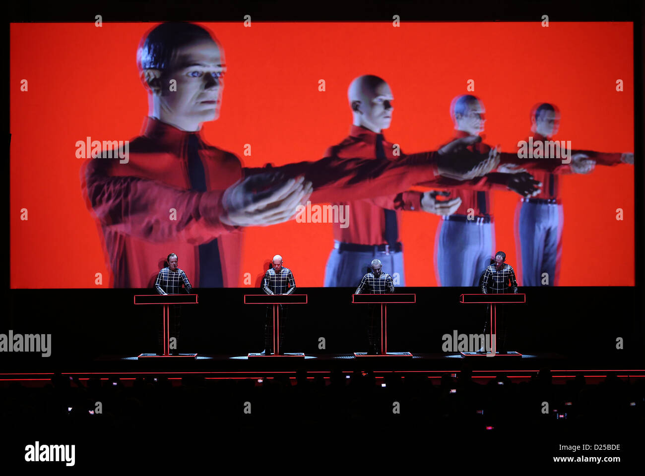 The members of the German electronic band Kraftwerk perform on stage at the arts exhibition venue 'Kunstsammlung Stock Photo