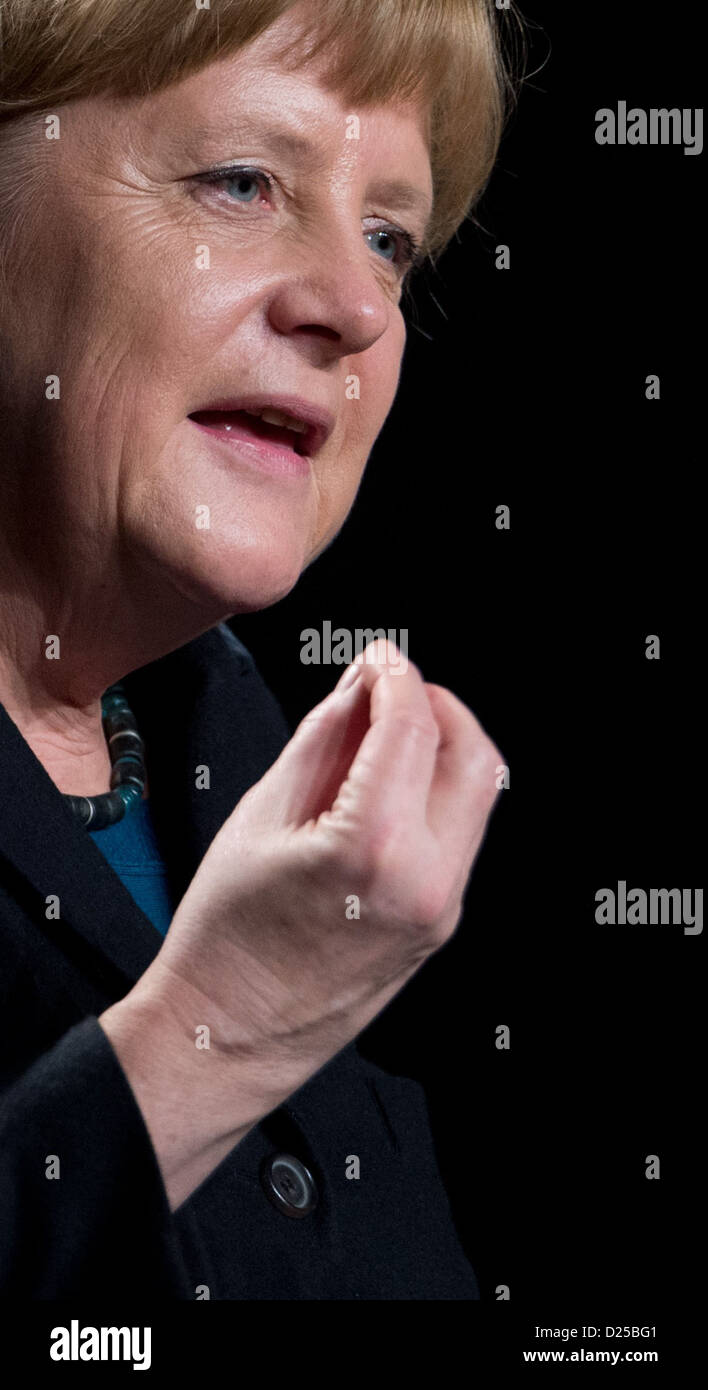 German Chancellor Angela Merkel talks during an election campaign event of the Lower Saxon CDU for the 2013 - Stock Image