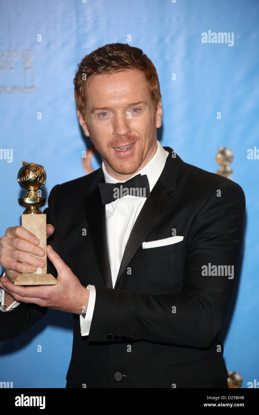 Actor Damian Lewis poses in the photo press room of the 70th Annual Golden Globe Awards presented by the Hollywood - Stock Image