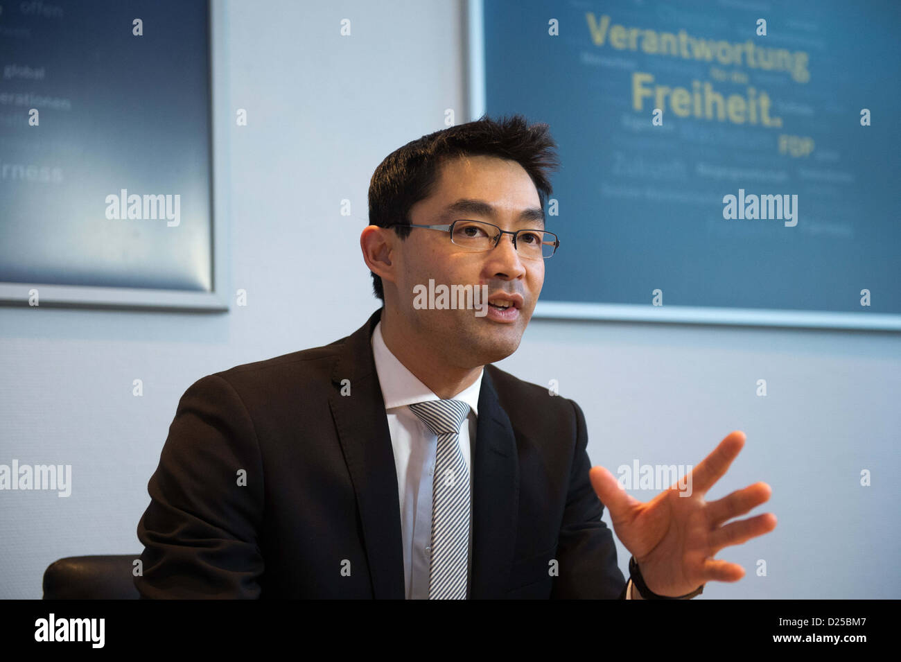 German Federal Minister of Economics and party leader of the FDP, Philipp Rösler joins the FDP-Presidium meeting - Stock Image