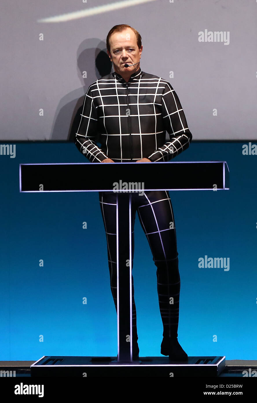 The founding member of the German electronic band Kraftwerk, Ralf Huetter, performs on stage at the arts exhibition Stock Photo