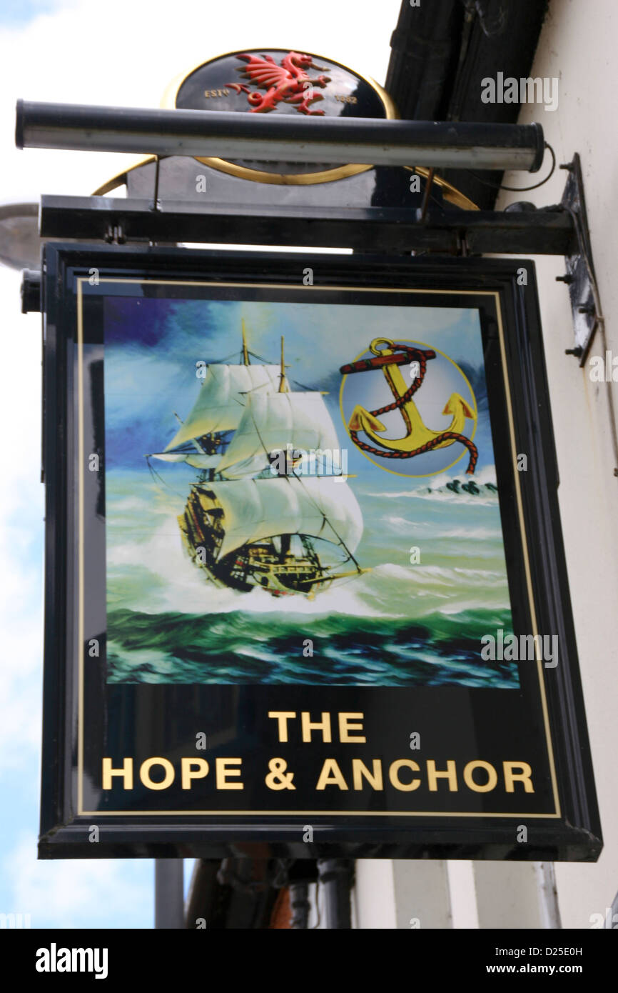 Hope and Anchor Inn sign Cardigan Ceredigion Wales UK Stock Photo