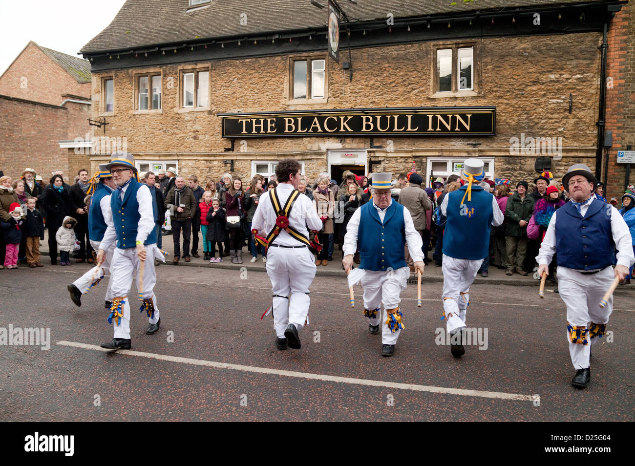 Traditional english morris dancing at the Whittlesey Straw Bear festival, cambridgeshire UK - Stock Image