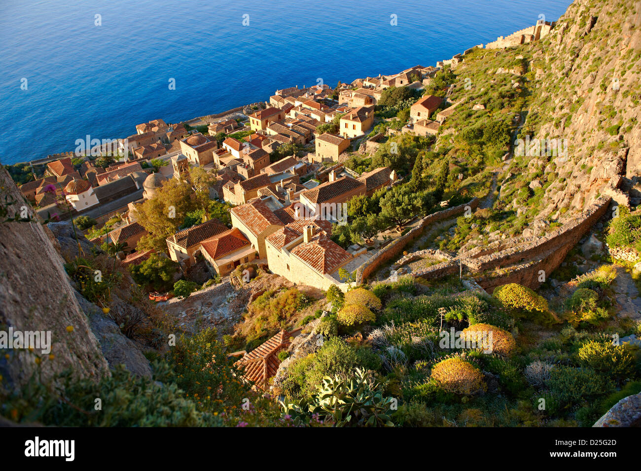 Arial view of Monemvasia Byzantine Island catsle town with acropolis on the plateau. Peloponnese, Greece - Stock Image