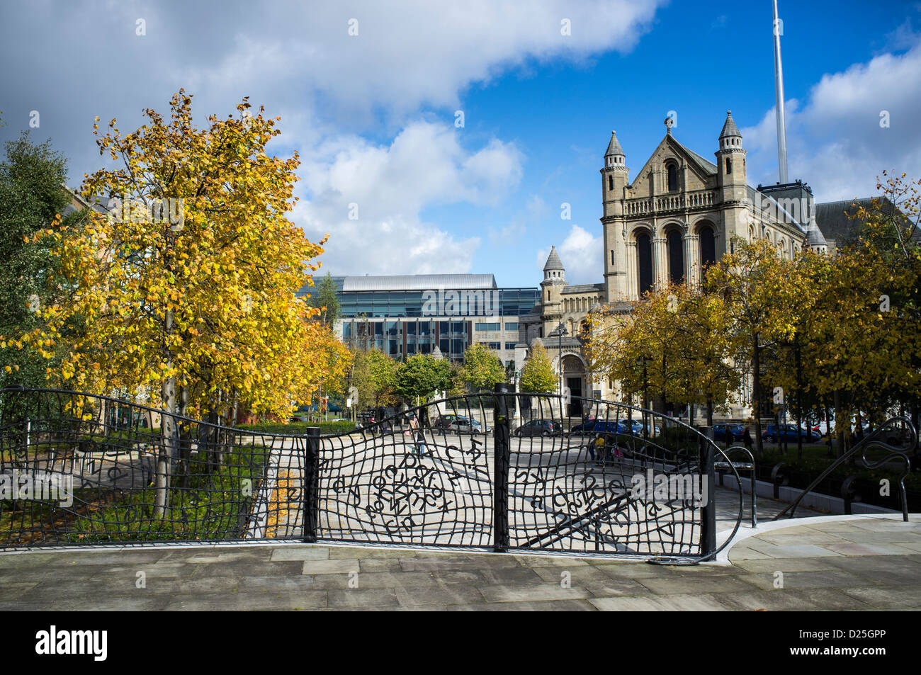 St Annes Church of Ireland Cathedral and Writers Sq Belfast Northern Ireland - Stock Image