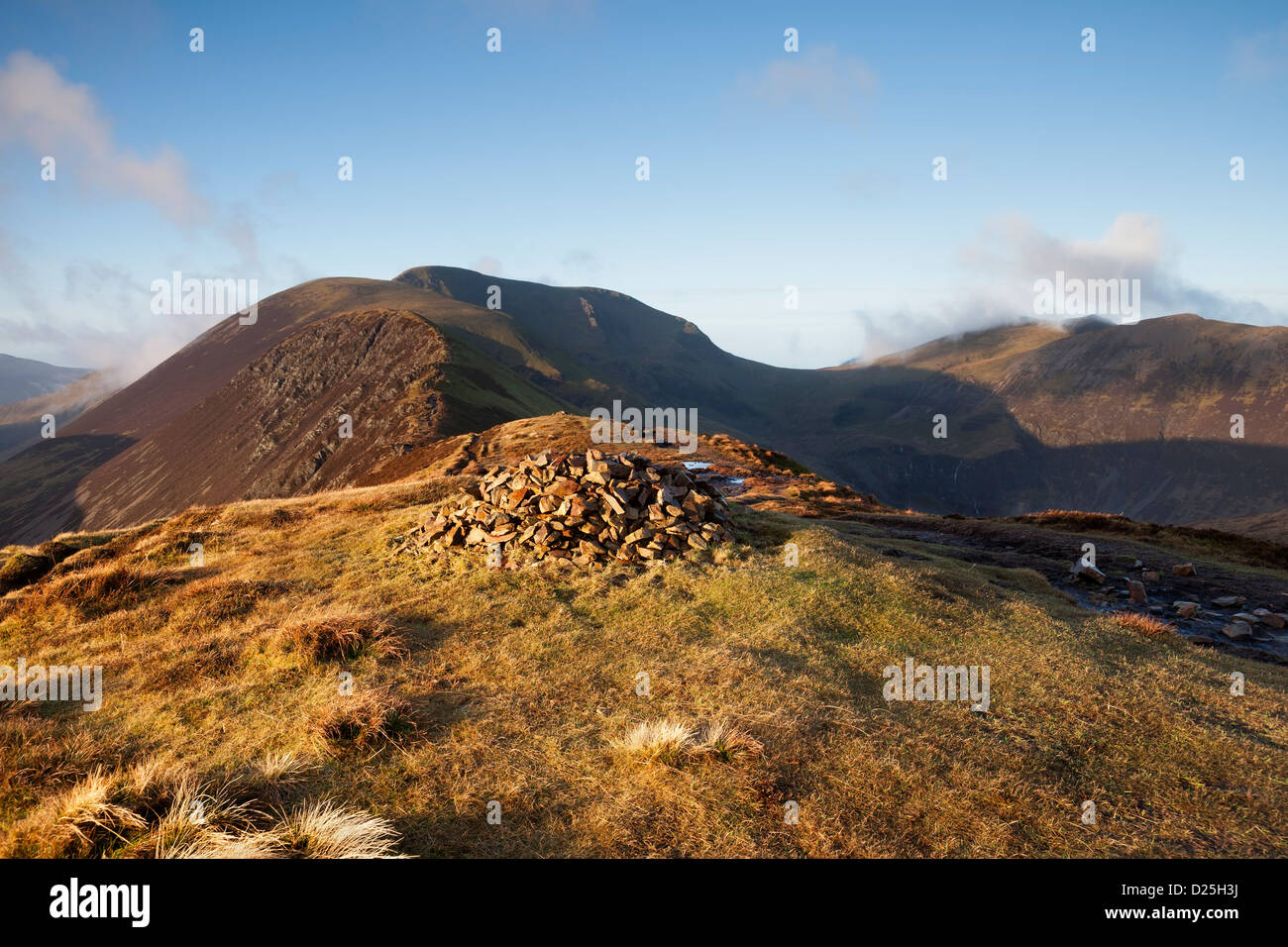 The Mountains of Sail and Crag Hill From Causey Pike in Early Morning Light Lake District Cumbria UK - Stock Image