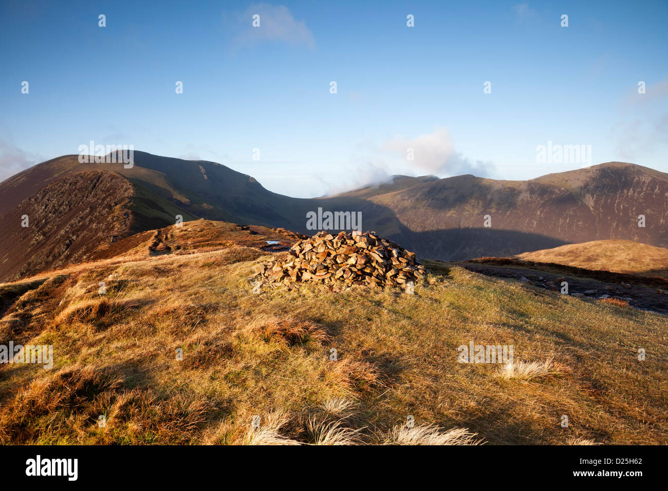 The Mountains of Sail and Crag Hill From Causey Pike in Early Morning Light Lake District Cumbria UK Stock Photo