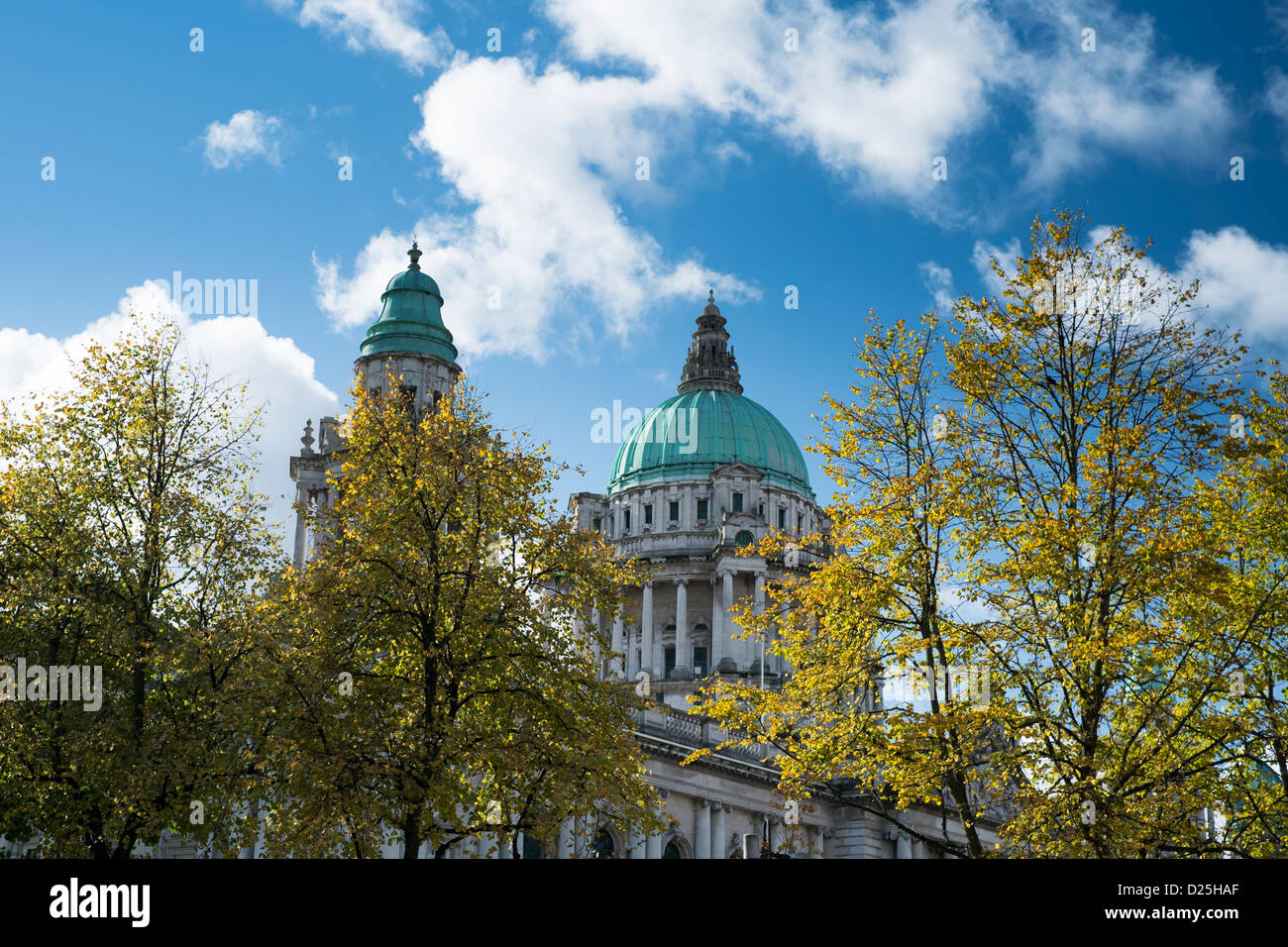 Belfast City Hall with autumn leaves - Stock Image