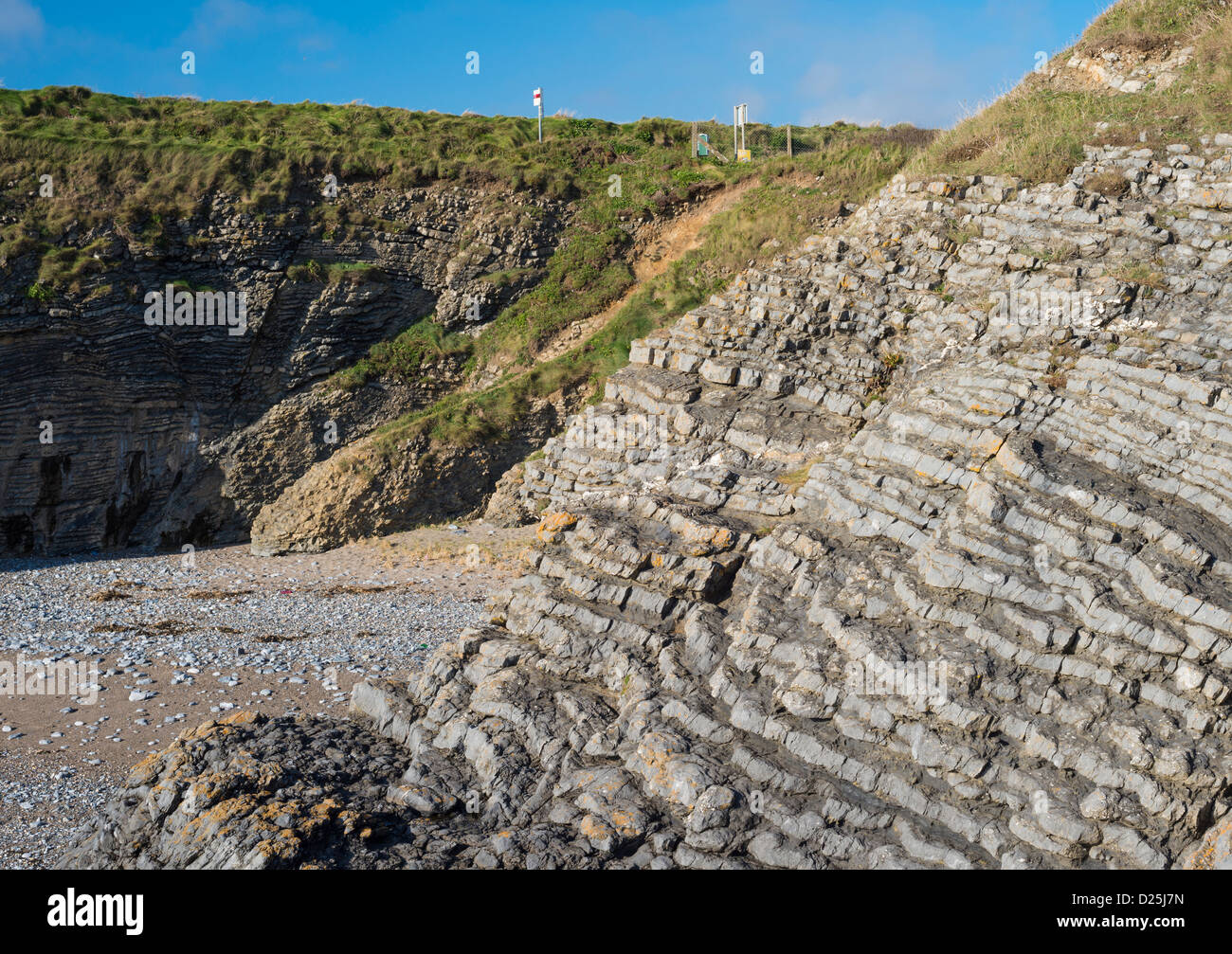 Thinly-bedded silicified Silurian limestones forming cliffs between Portrane and Donabate, County Dublin, Ireland - Stock Image