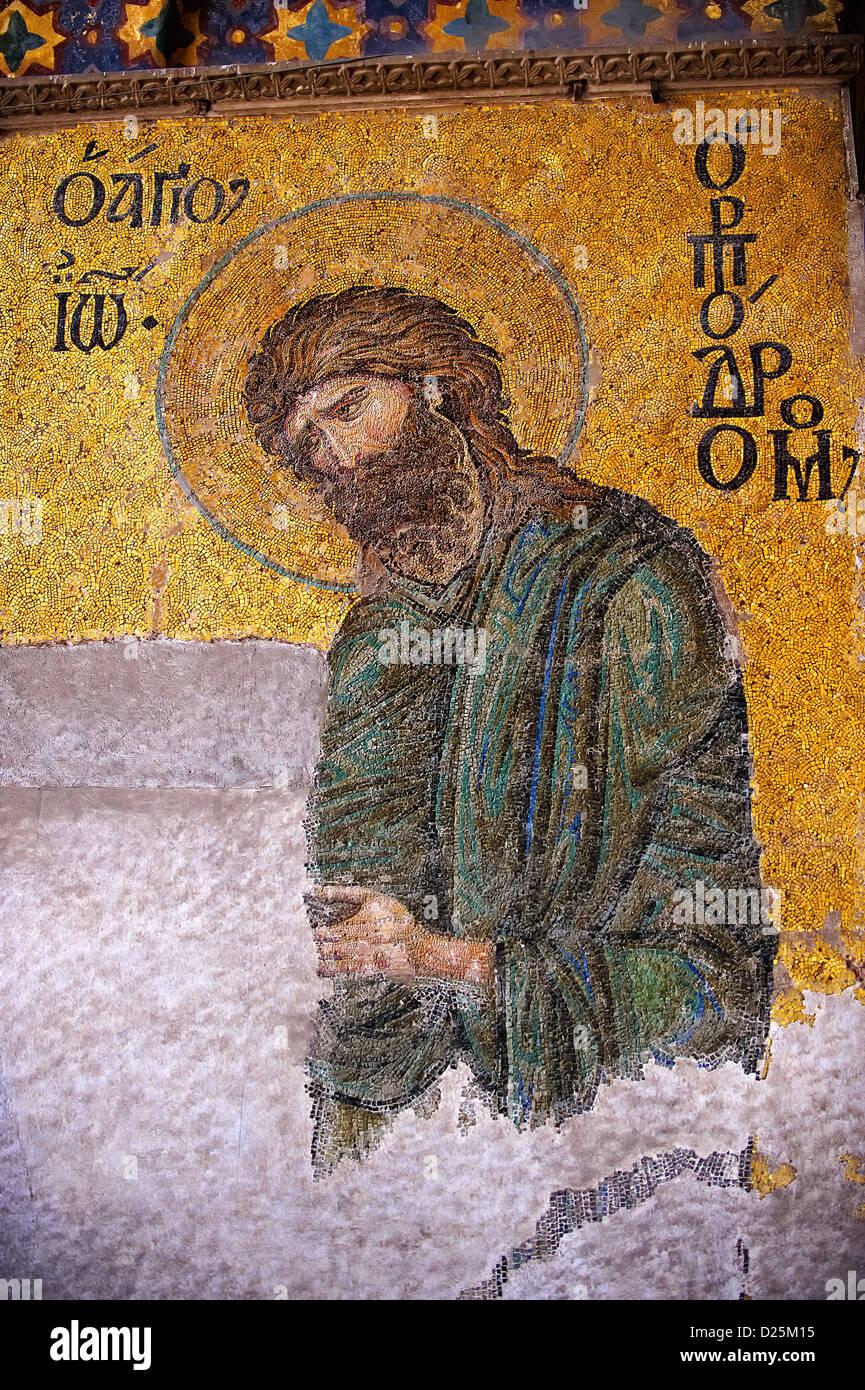 St John The Baptist Byzantine Mosaic, Hagia Sophia, Istanbul, Turkey - Stock Image