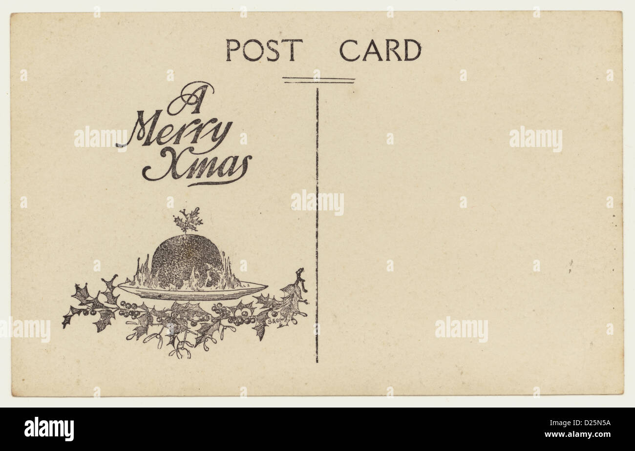 Reverse of early 1900's postcard with the motif 'A Merry Xmas' - Stock Image