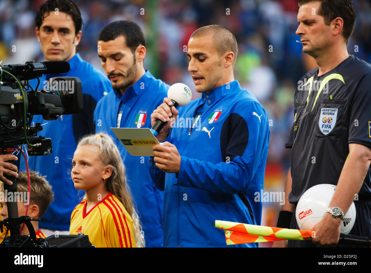 Italy team captain Fabio Cannavaro reads a statement as part of an anti-racism campaign before a FIFA World Cup - Stock Image