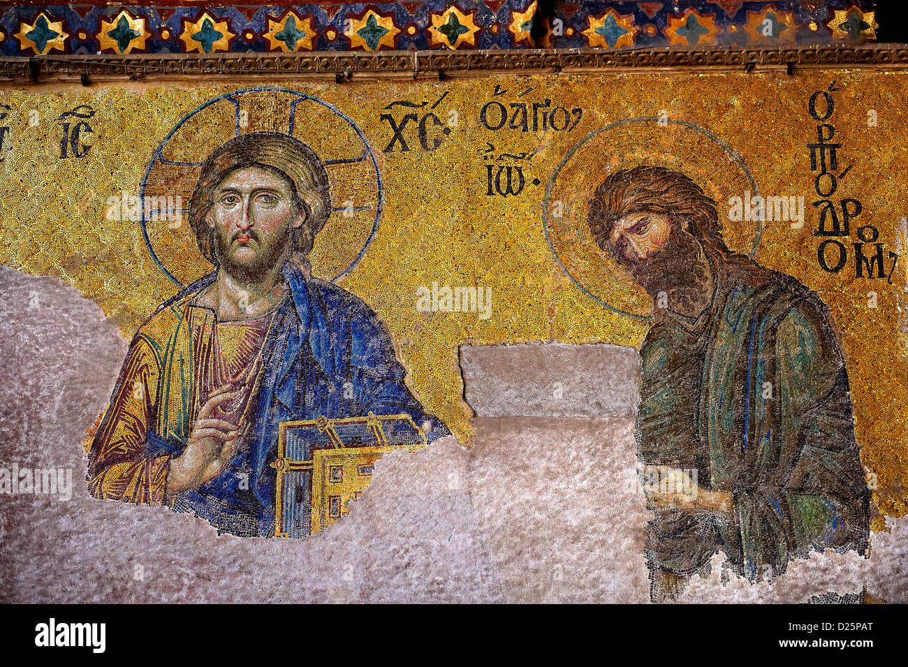 Jesus Christ and St John The Baptist Byzantine Mosaic, Hagia Sophia, Istanbul, Turkey - Stock Image