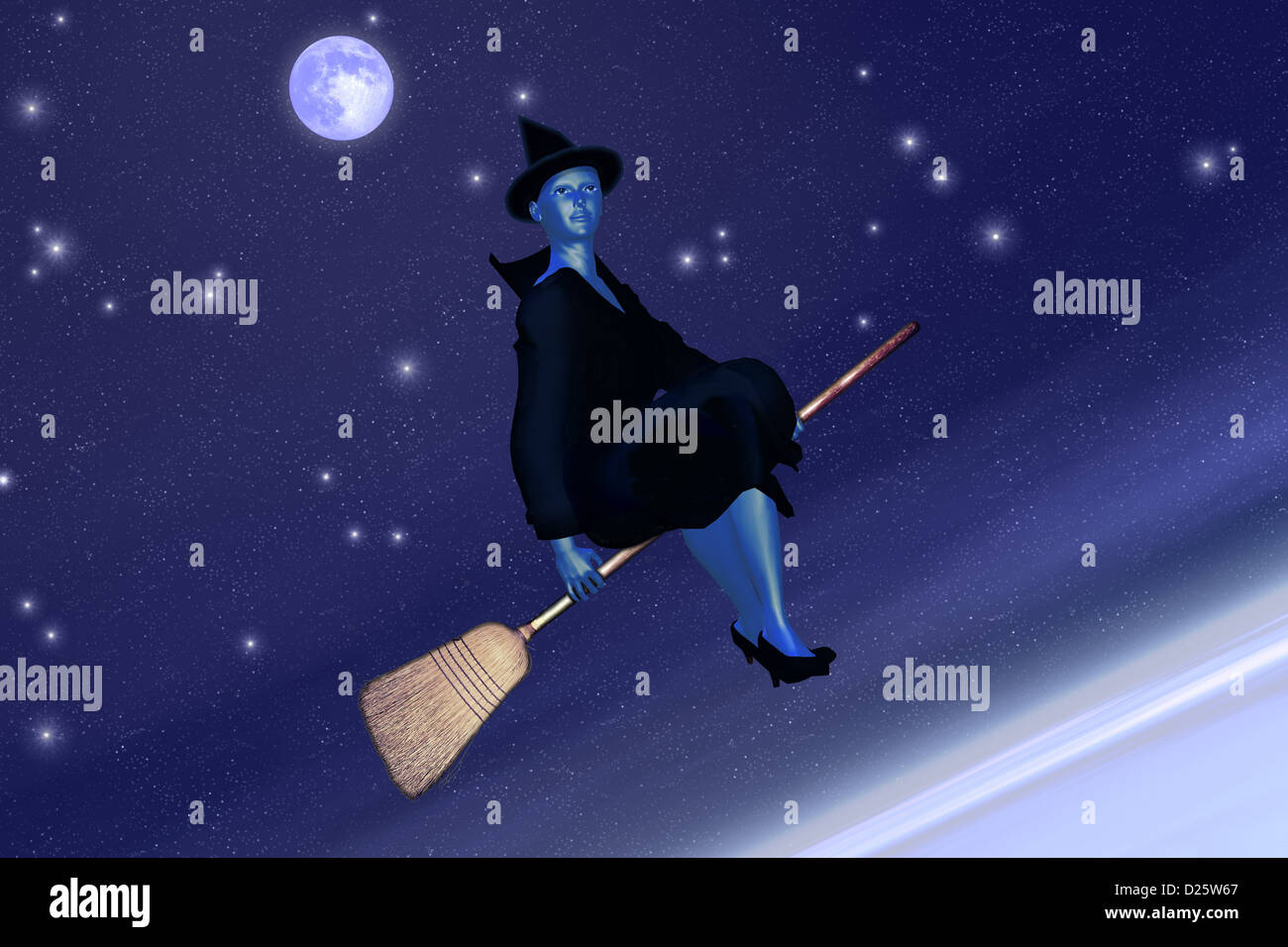 Witch on her broomstick - Stock Image