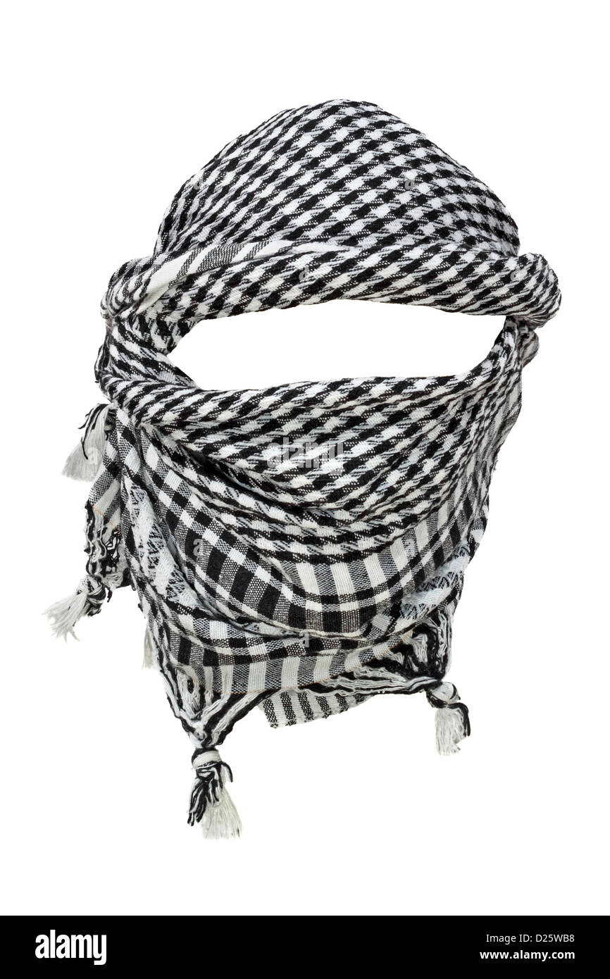 Keffiyeh - traditional Arabic headgear isolated on white background - Stock Image