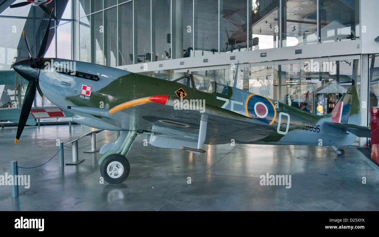 Supermarine Spitfire LF Mk.XVI E, served in Polish Air Force on Western front, Polish Aviation Museum in Krakow, Stock Photo