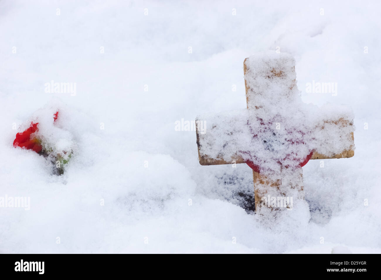 Remembrance Cross With Poppy In The Snow - Stock Image