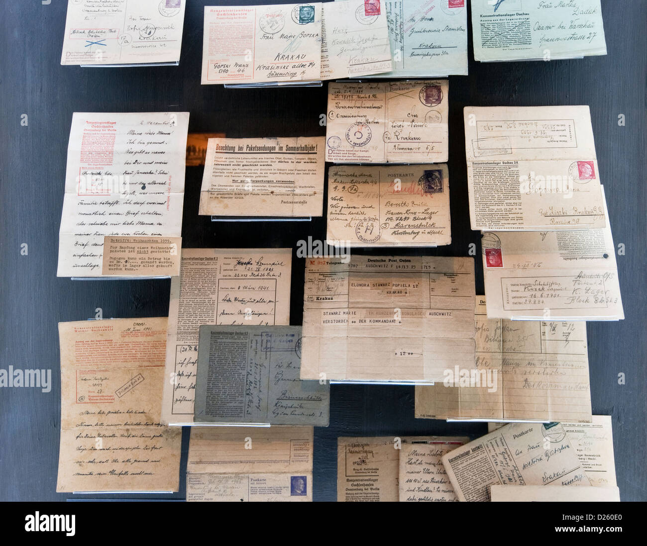 Letters of Polish and Jewish prisoners of concentration camps, Oskar Schindler's Factory Museum in Krakow, Poland - Stock Image