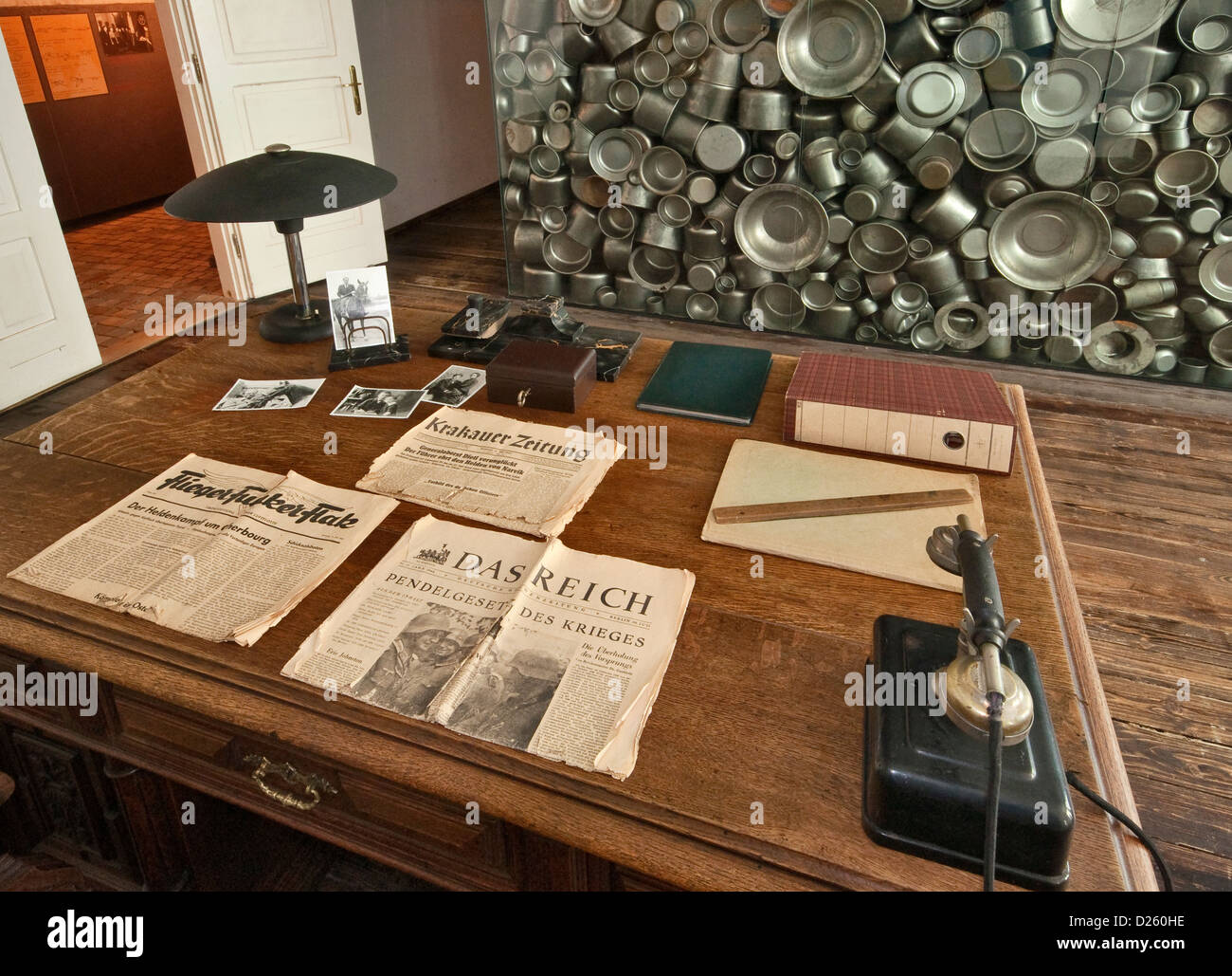 Schindler's desk in his office, artistic installation by Michal Urban behind, Oskar Schindler's Factory - Stock Image