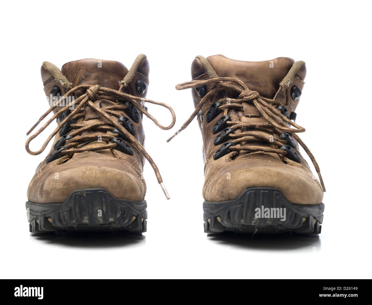c3228105bb08 One pair of brown walking boots isolated on white background Stock ...