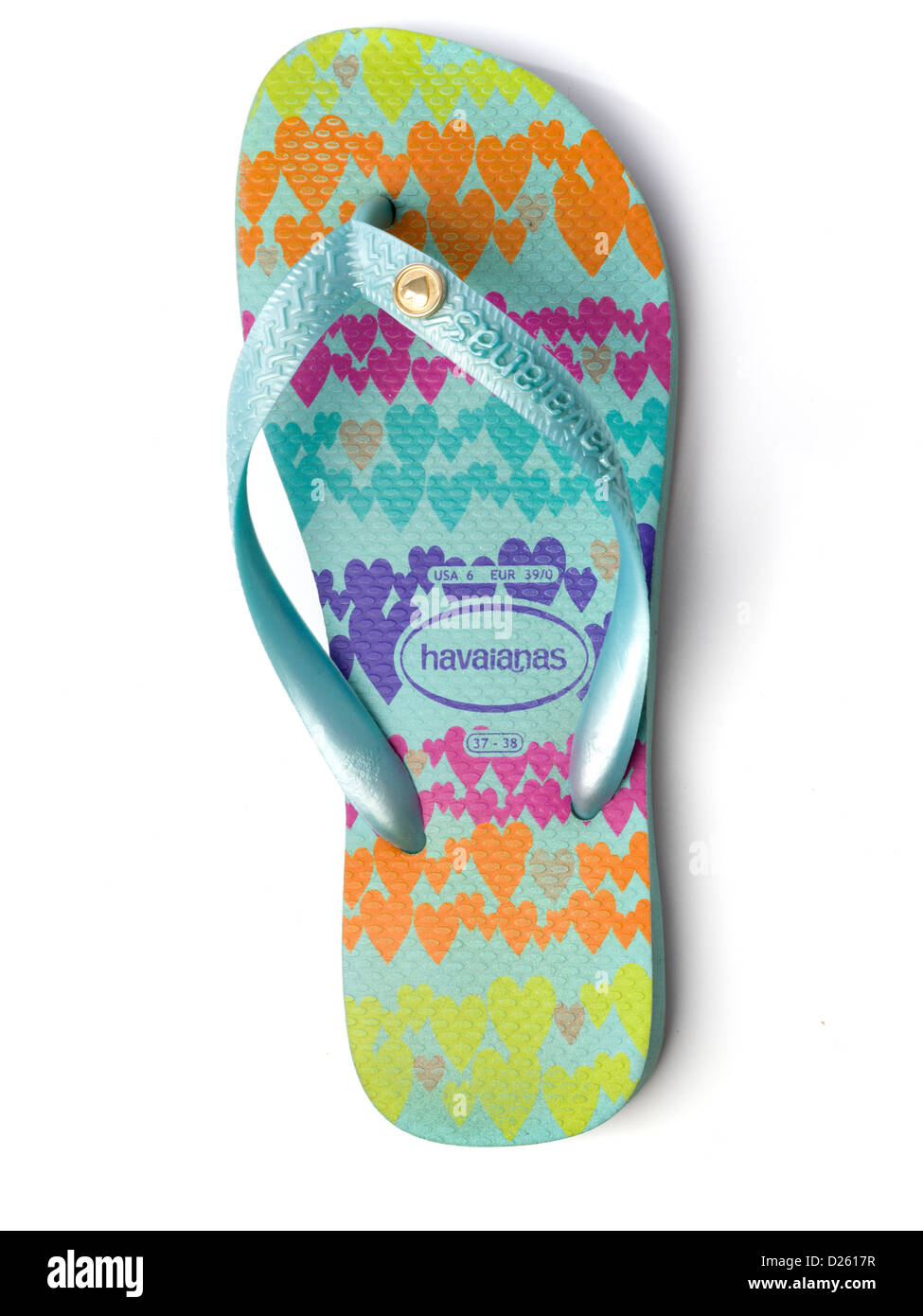 Colourful Havaianas flip flop isolated on white background - Stock Image