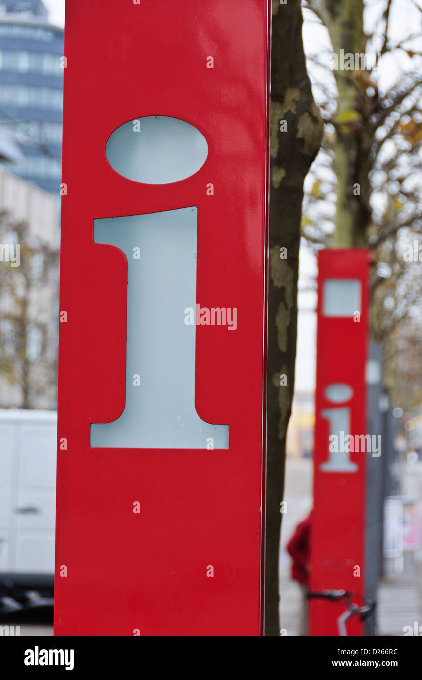 Red tourist information sign board, letter i - Stock Image
