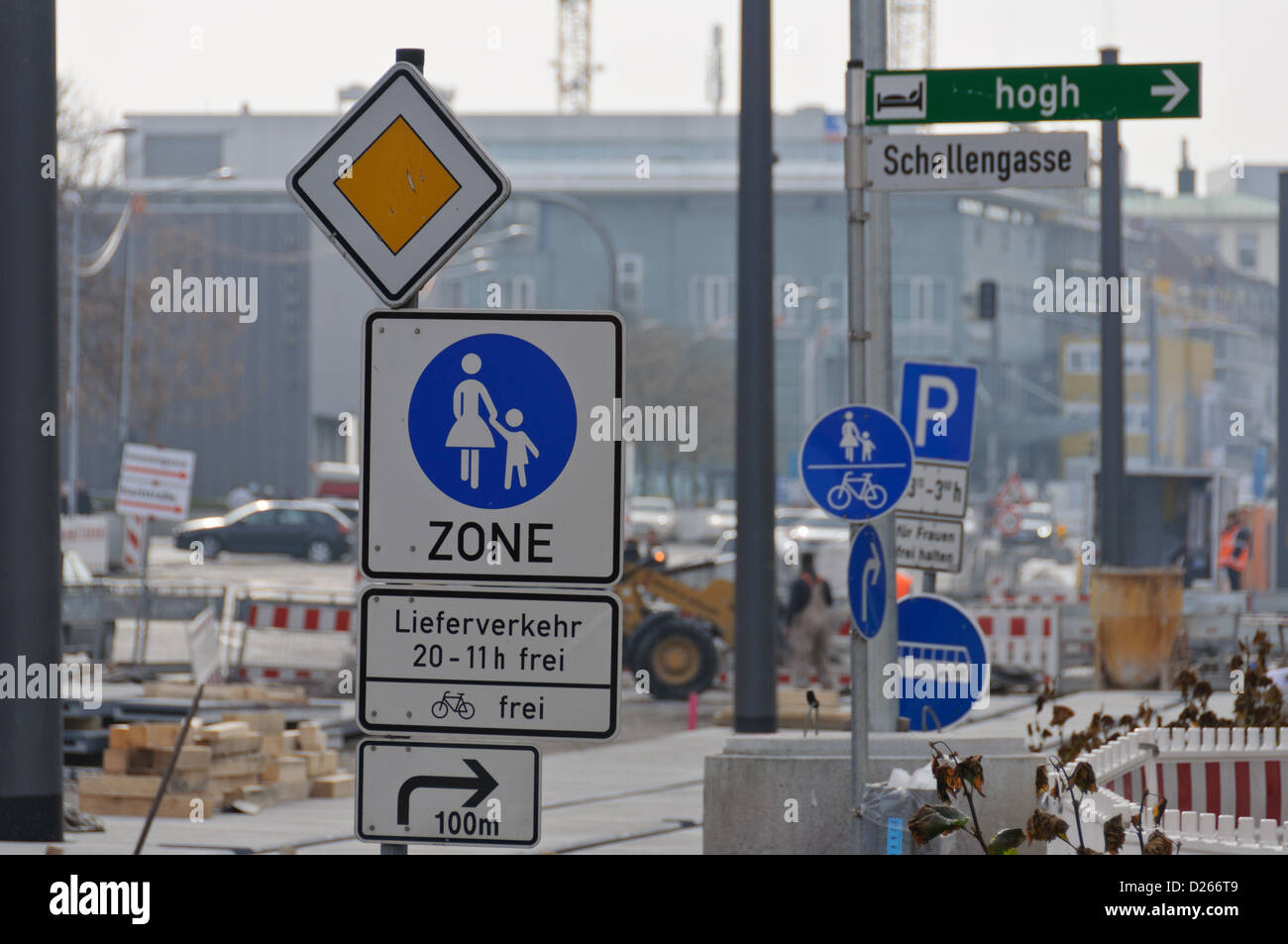 Forest of traffic signs at a road construction zone – Heilbronn, South Germany - Stock Image