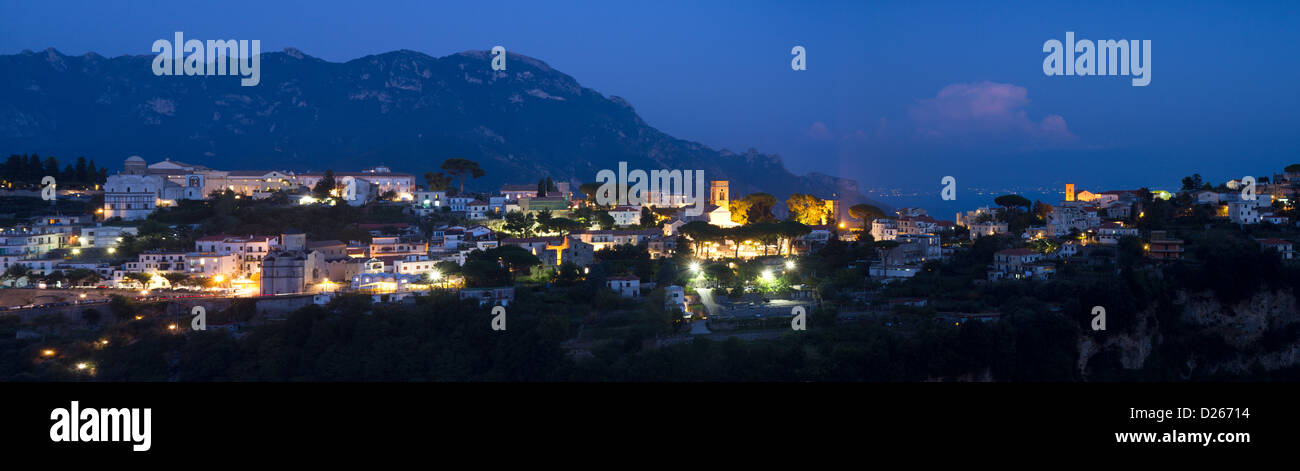 Panorama of Ravello during the blue hour, Campania, Italy - Stock Image